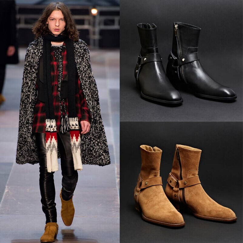 Mens Retro Suede Leather Pointed Toe HIgh Top Ankle Boots British Zipper shoes