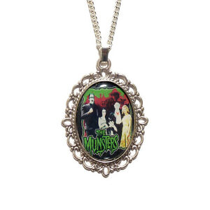 The-MUNSTERS-family-necklace-pendant-silver-vampire-horror-werewolf-gothic-goth
