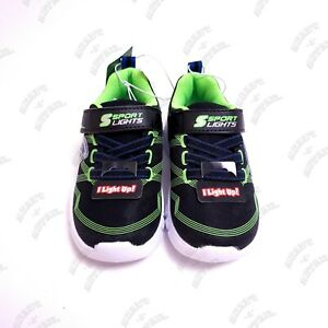 Toddler-S-Sport-By-Skechers-Lights-Flinn-Green-Performance-Athletic-Shoes-Sz-6