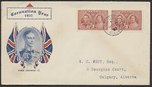 1937-237-George-VI-Coronation-FDC-West-Coronation-Year-Cachet-Calgary-Flag