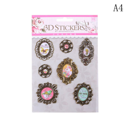 Vintage 3D Adhesive Stickers Tag Label DIY Scrapbooking Diary Decorative Craft T