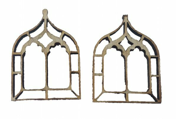 Miniature Windows Gothic Chapel x 4 Fairy Elf, Hobbit Door Accessory Dolls House