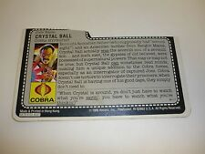 GI JOE CRYSTAL BALL FILE CARD Vintage Action Figure HALF CUT AWESOME SHAPE 1987