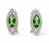 6374 2.12ct Green Helenite Marquise Sterling Silver Halo French Backing Earrings