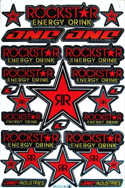 Red Rockstar Energy Stickers Motocross Motorrad Auto Bike Atv Aufkleber Decals