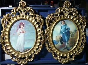 Vintage-Oval-Convex-Dome-Glass-034-Blue-Boy-034-Picture-Frame-Ornate-Pair-Italy