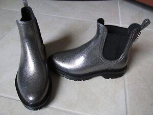 New-Michael-Kors-Tipton-Pull-On-Rain-Boots-WOMENS-sz-6-Gunmetal-Silver-Glitter