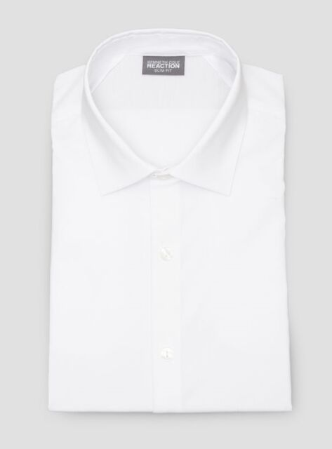 $95 KENNETH COLE REACTION Men SLIM-FIT WHITE LONG-SLEEVE DRESS SHIRT 15 32/33 M