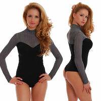 Cotton Womens Bodysuit Turtle neck Long sleeve Thong S-3XL TG1462 Mock Leotard