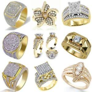 Fashion-18K-Yellow-Gold-Filled-White-Topaz-Ring-Women-Men-039-s-Wedding-Jewelry-6-10