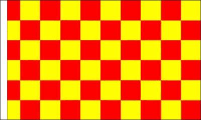 Flag Banner Black and Yellow Check Flag 150cm x 90cm Sleeved 5ft x 3ft
