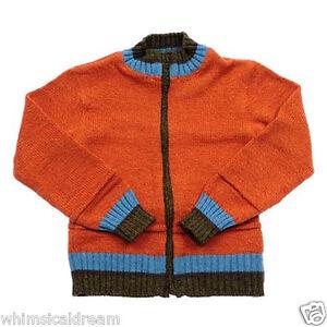 Clayeux wool blend boys Sz 9 - 10 yr bold orange knit jacket cardigan jumper NWT