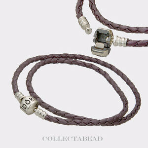 Pandora-Silver-Double-Purple-Leather-Cord-15-0-034-Bracelet-590705CPE-D2-SPECIAL