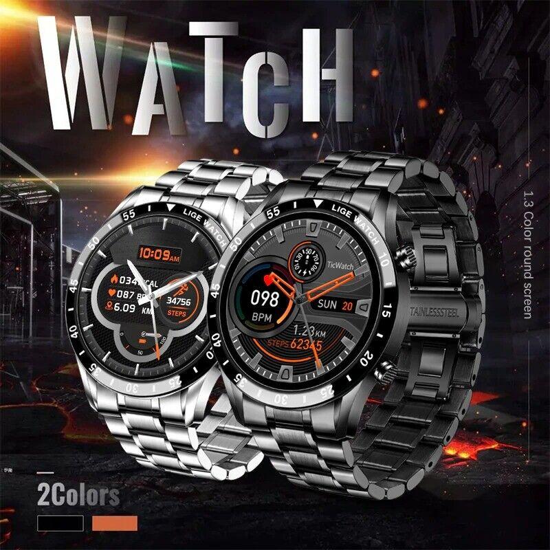 LIGE New Men Smart Watch IP68 Waterproof Heart Rate Blood Pressure Sports Luxury