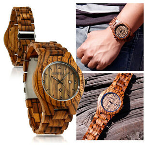 Fashion-BEWELL-Wood-Watch-Wooden-Quartz-Date-Display-Men-039-s-Wristwatch-Wood-Band