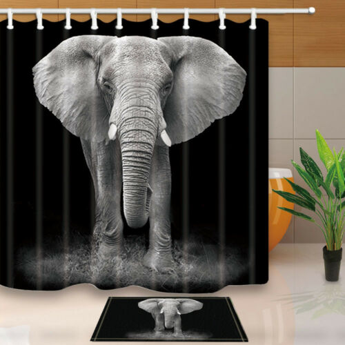 Animal Elephant With Black Background Shower Curtain set Bathroom decor 71inch