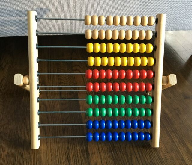 IKEA Mula Abacus Math 100 Colored Beads Wood Frame ...
