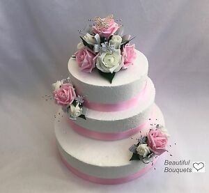 Wedding Flowers Ivory Butterfly Rose Large 3 Tier Cake Topper