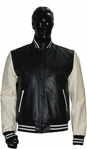 Real Black Leather  Varsity Letterman Jacket with White Real Leather Sleeves