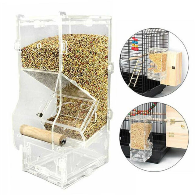 Auto Seed No Mess Bird Feeder Parrot Toy Toy Canary Cockatiel Finch Tidy Corral#