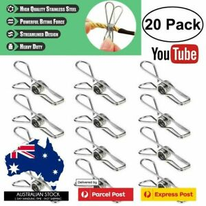 20X Stainless Steel Cloth Pegs Laundry Clamp Hanging Clips Pins Hanger Windproof
