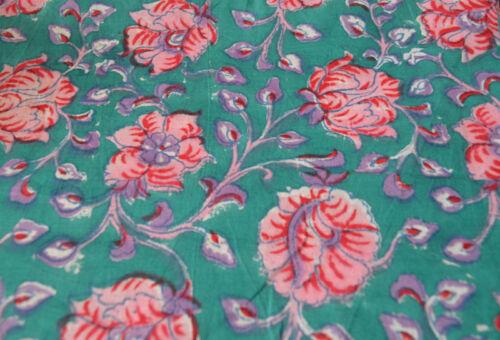 Indian Running Loose Cotton Green Fabrics Printed Hand Block Print 10 Yard New