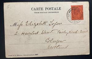 1903 Gibraltar Picture Postcard Cover To Glasgow Scotland Tanger Market