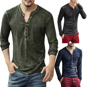 Fashion-Mens-039-Henley-T-Shirts-Long-Sleeve-V-Neck-With-Button-Slim-Fit-T-Shirts