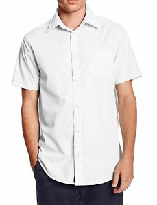 vkwear-Men-039-s-Classic-Button-Up-Curved-Hem-Short-Sleeve-Solid-Dress-Shirt-White