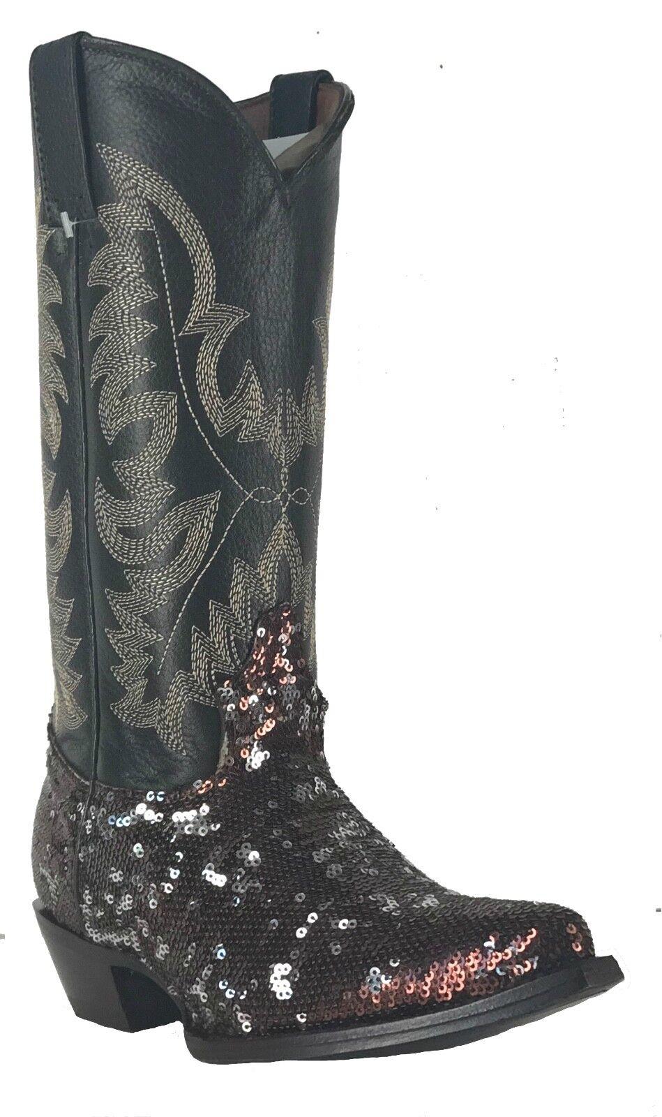 Women's Fantastical Shimmering Sequin Western Cowgirl Biker Boots Snip Brown