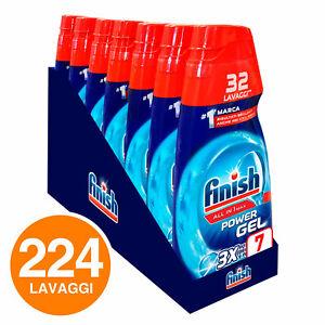 224 Lavaggi Finish Powergel Brillantezza Protezione Gel Concentrato 7x650ml