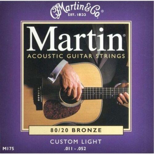 Martin M175-80//20 Bronze Muta Corde per chitarra Acustica scalatura 11-52 Cust