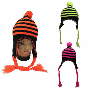 ee1a0d8e0c2 New Ladies Winter Hat Neon Pink Yellow Green Orange Stripes Trapper ...