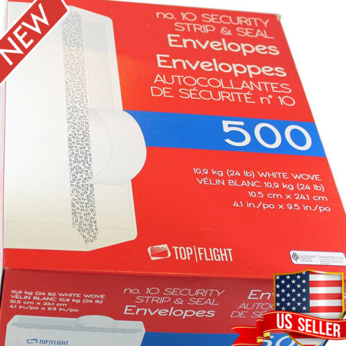 500 Count Number 10 Envelopes Strip Seal Security Tinted White Paper Home Office