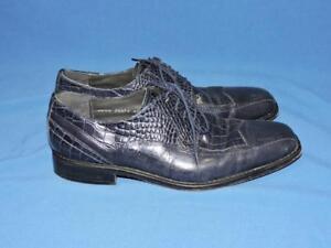 Stacy-Adams-Size-8-Blue-Leather-Dress-Shoes-Faux-Crocodile-Lace-Up-Tie-Mens-8-M