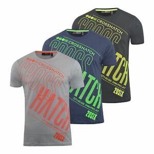 Mens-Crosshatch-T-Shirt-Graphic-Crew-Neck-Tee-Top-Kaeffmore