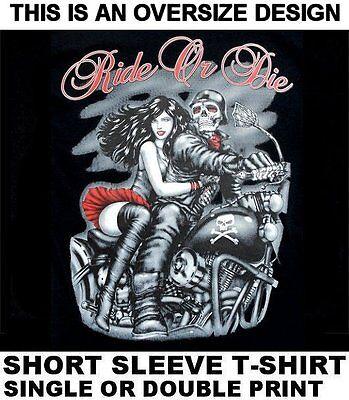 RIDE OR DIE GHOST SKELETON MOTORCYCLE RIDER SEXY GIRL SKULL BIKER T-SHIRT WS597