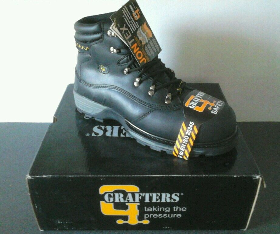 Grafters HIKER Type Safety Boots Black, Size 6.