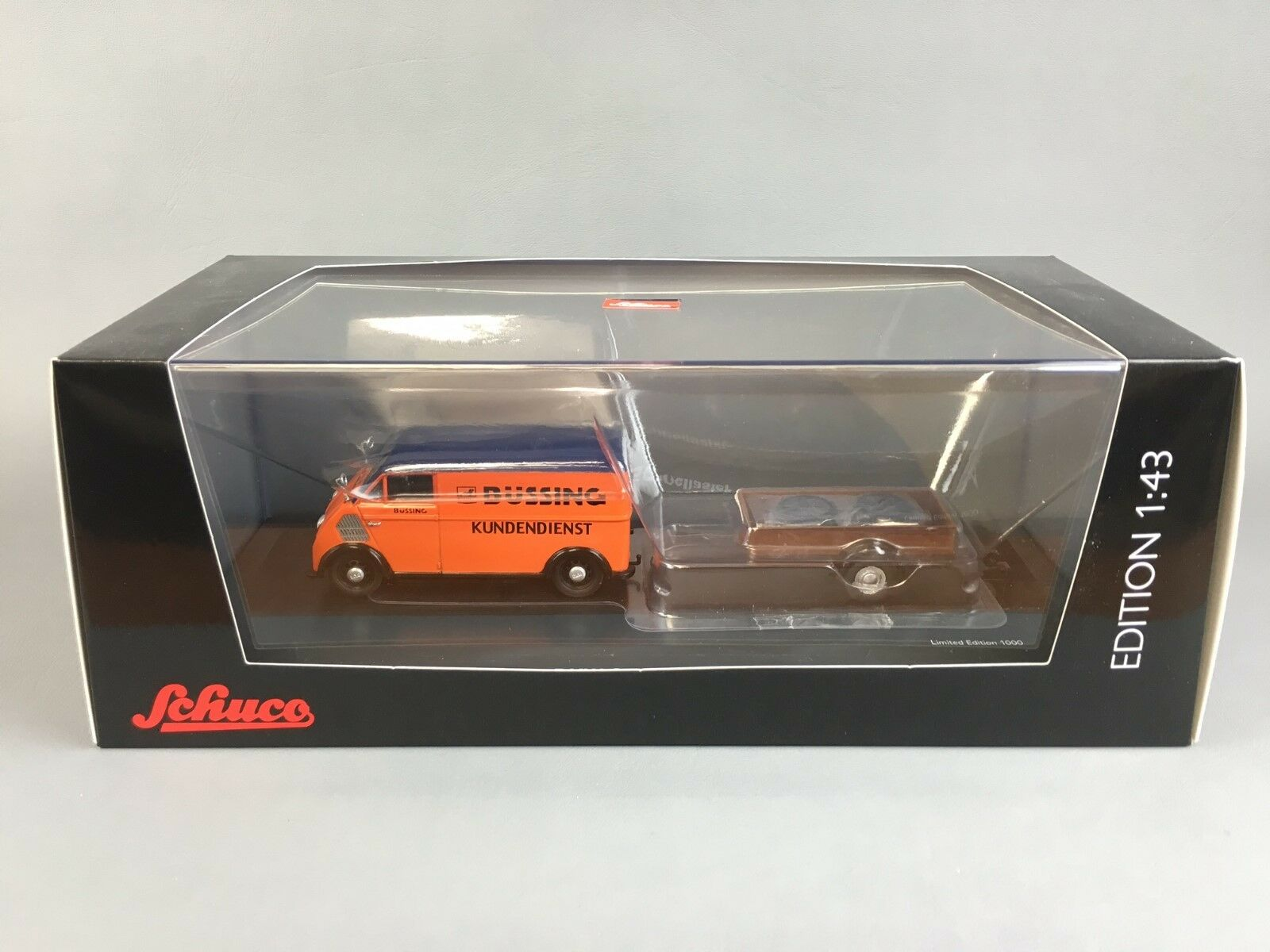 Schuco DKW Orange Schnellaster avec remorque DIECAST SCALE MODEL 1 43 Ltd ED 1000