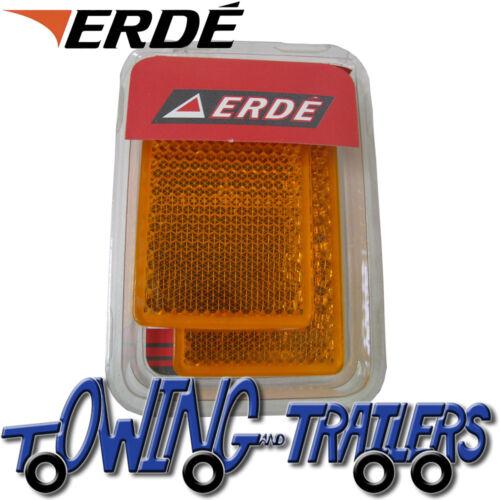 Genuine Erde 09191022 Amber Side Rectangular Reflectors Pair for 143 Trailer