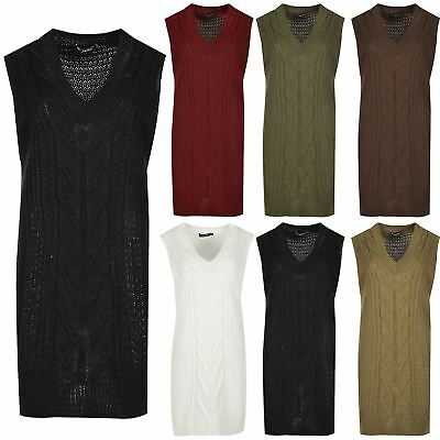 Ladies Womens V Neck Sleeveless Cable Chunky Knitted Mini Dress Jumper Baggy Top