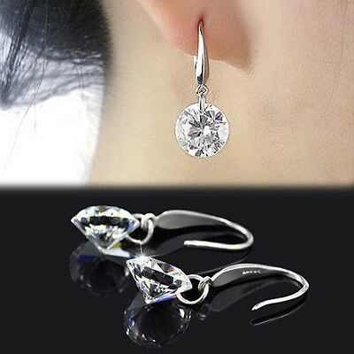 Chic Women Sliver Plated Ear Hook Chandelier Crystal Dangle Earring Gift