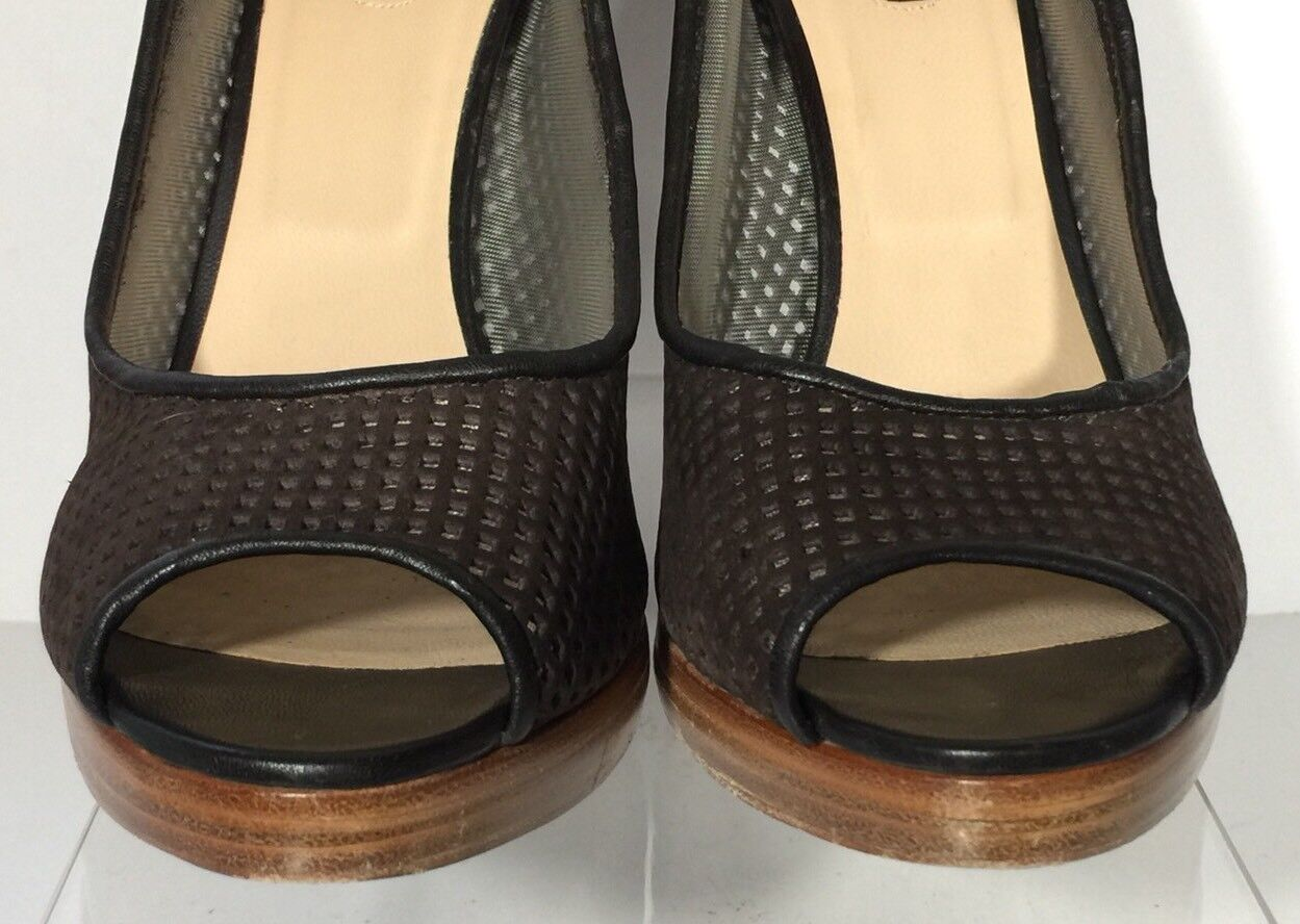 LONGCHAMP Perforated Braun Leder Peep Toe Pumps Heels 40 US US US 9.5/10 Ret 525 876570