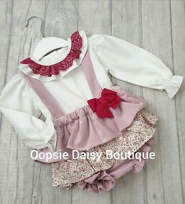Spanish Vintage Style Frilly Strap /& Lace Pinafore /& Blouse Sets upto 36mth ⭐