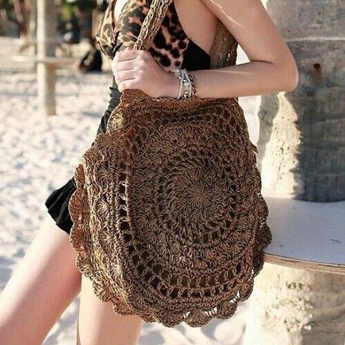 Damen Handtasche Schultertasche Damentasche Stroh Rattan geflochte  Strandtasche