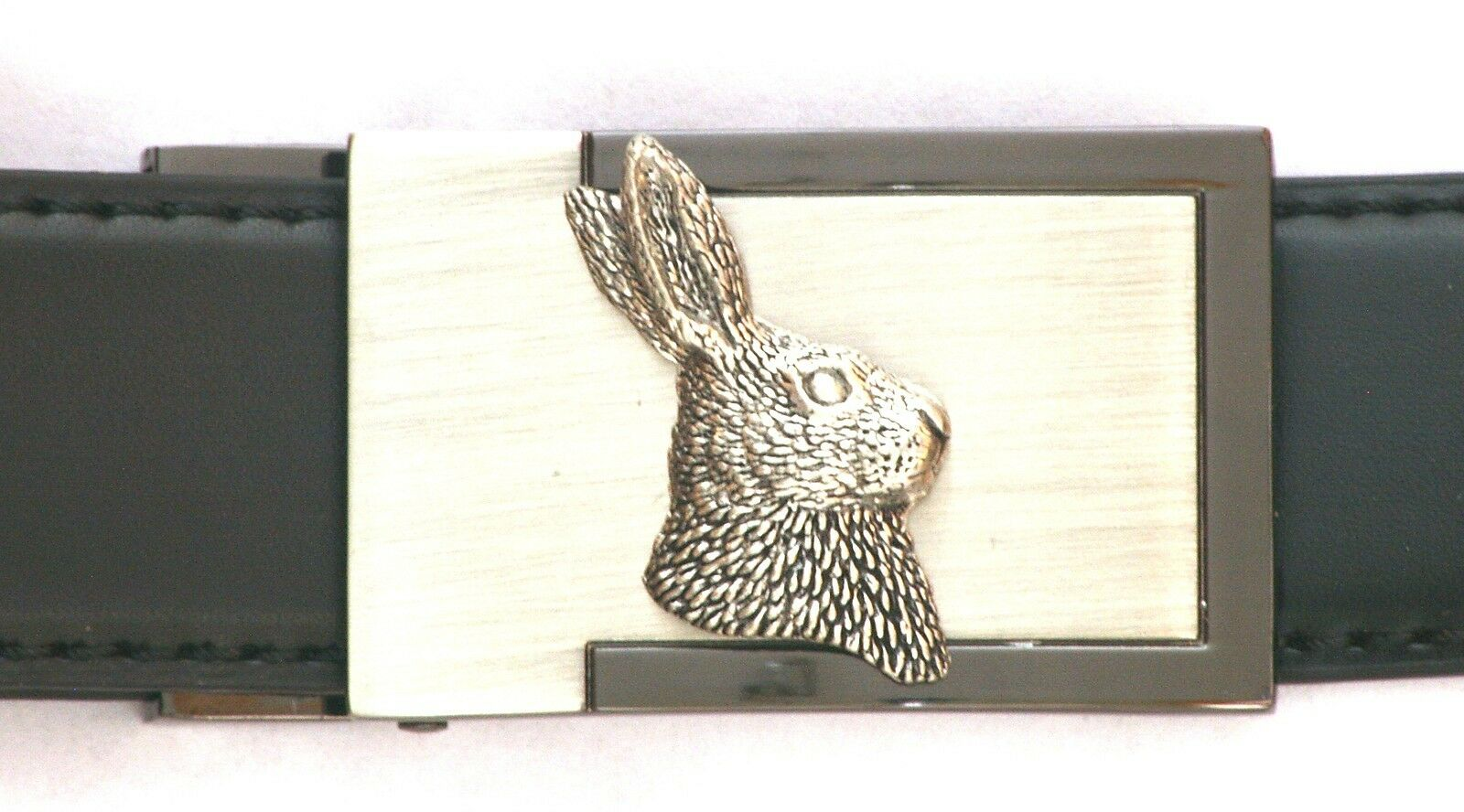 Hare Head Emblem Belt Buckle and Leather Belt in Gift Tin Ideal Hunting 171