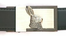 Hare Head Emblem Belt Buckle and Leather Belt in Gift Tin Ideal Hunting Present