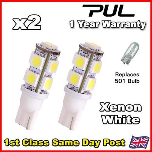 2x 9 SMD Xenon White LED Car Side Light Bulb T10 501 W5W COOL 5050 Parking dip