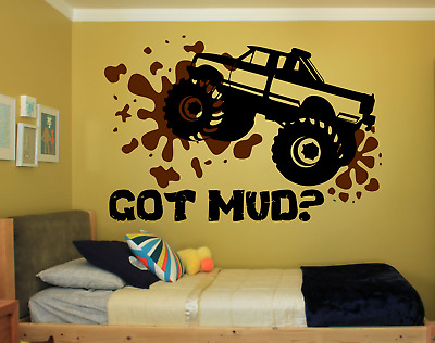Groovy Monster Truck Got Mud Large Wall Vinyl Decal Bedroom Art Color Choices 22X33 In Ebay Home Interior And Landscaping Ologienasavecom