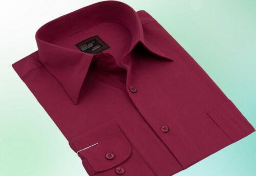 Herren Hemd Klassisch Business Langarm Rot Bordeaux 38 39 40 41 42 43 44 45 46